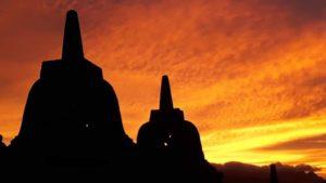 ボロブドゥール夕陽